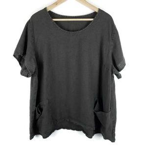 FLAX 100% Linen Top Lagenlook Pullover Shirt 1233